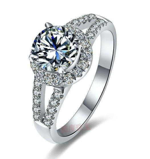 Luxury quality 1ct cushion cut SONA synthetic gemstone wedding engagement ring for woman,birthday gift,proposal ring