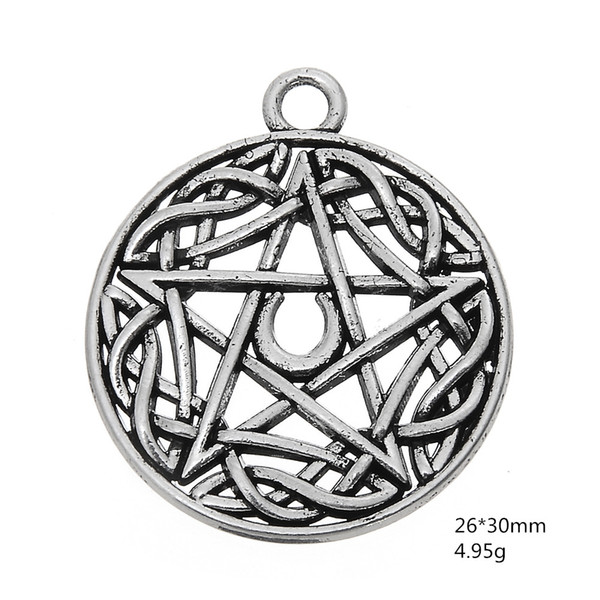 5pcs/lotZinc Alloy Metal Antique Silver Plated Religious Symbol Charms Wiccan Style for Jewelry Making