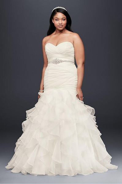 best selling Organza Plus Size Mermaid Wedding Dress With Lace-Up Back Ruffled Skirt Custom Made Bridal Gowns 4XL9WG3832