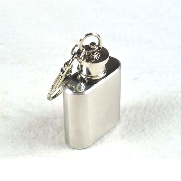 Mini tragbare Flachmänner Schlüsselanhänger 1oz Edelstahl Whiskey Alkohol Alkohol Tasche Flachmann Flachmann Flasche mit Schlüsselanhänger 240252