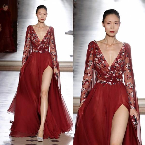 Темно-красные вечерние платья с разрезом сбоку и V-образным вырезом с аппликацией с длинными рукавами и бисером Пром платья Vestidos Festa шифоновое вечернее платье с аппликацией
