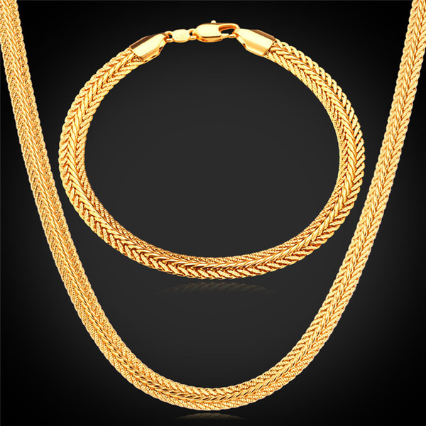 top popular Men Jewelry Sets Classical Foxtail Bracelets 18K Gold Rose Gold Platinum Plated Men's Thick Chain Necklace Sets 2020