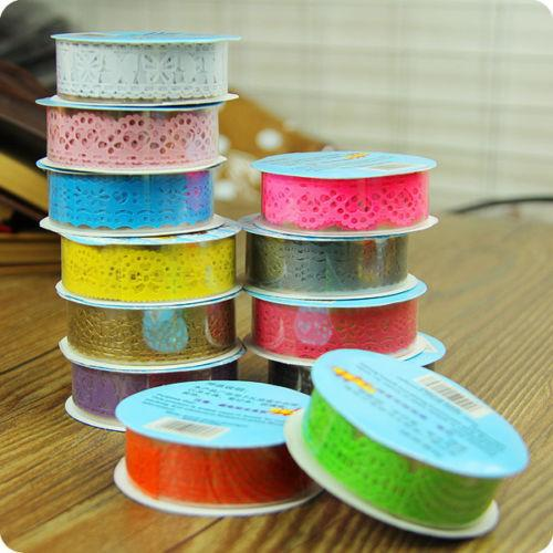 best selling 1PCS Hot Lace Roll DIY Washi Paper Decorative Sticky Paper Masking Tape Self Adhesive 9 Colors