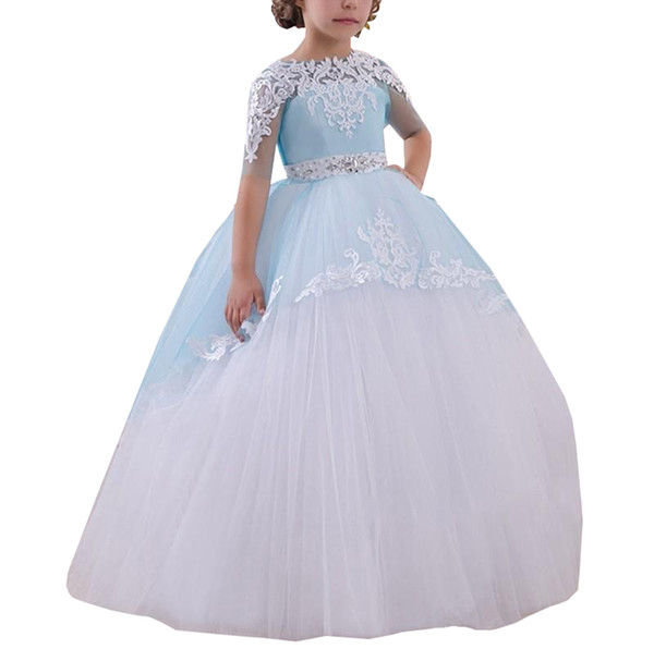 Perfect Lace Half Sleeve Birthday Girls Pageant Dress Sash 2018 Girl Communion Dress Kids Formal Wear Flower Girls Dresses for Wedding