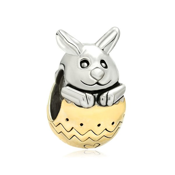 European Style 2 toned plating Easter Day Bunny rabbit cute spacer bead metal loose charms for bracelets