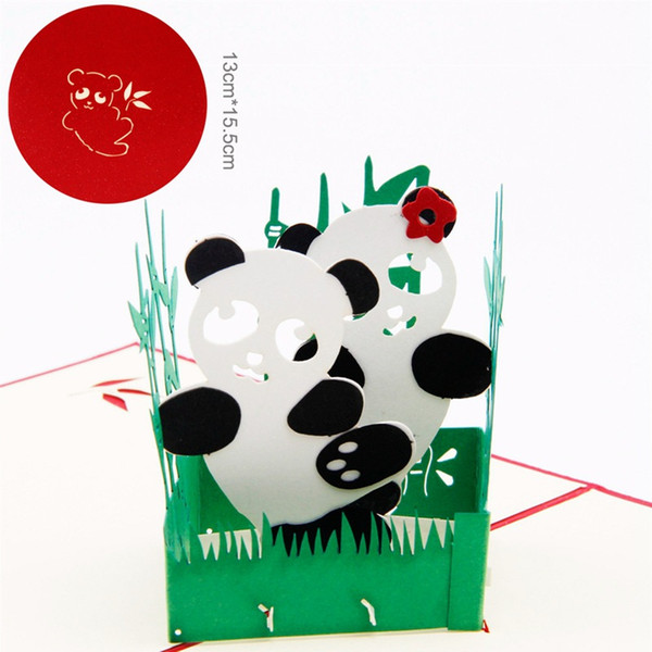 JC913 DIY 3D Paper Panda Postcards Greeting Pop Up Handmade Card for Chirdren's Gift Decoration Design