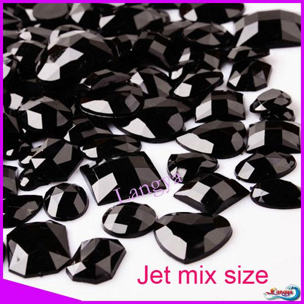 30pcs/lot Non Hotfix Mix Color Mixed Size Mixed shape Flat Black Acrylic Rhinestones For Nail Art Designs