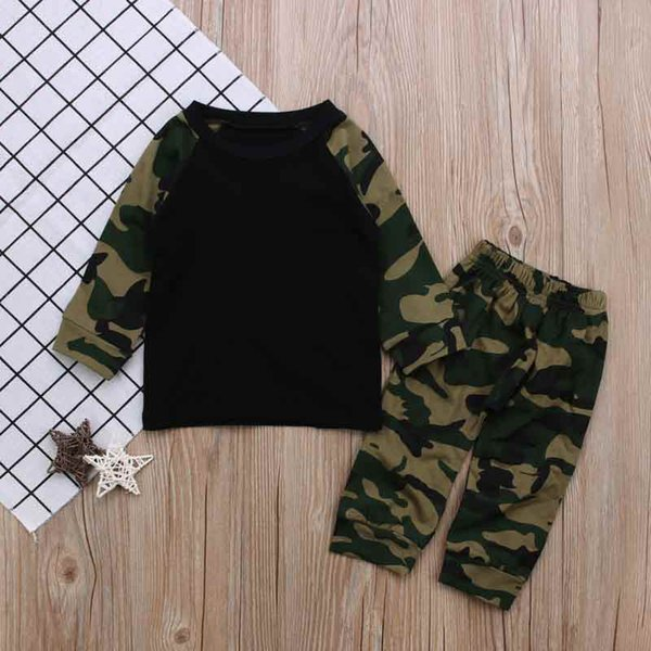 Spring Autumn Kids Clothing Set Camo Raglan Tshirt Pant Baby Boy Clothes T-shirt Pants 2 pcs Clothing Set New Style Hot Sales