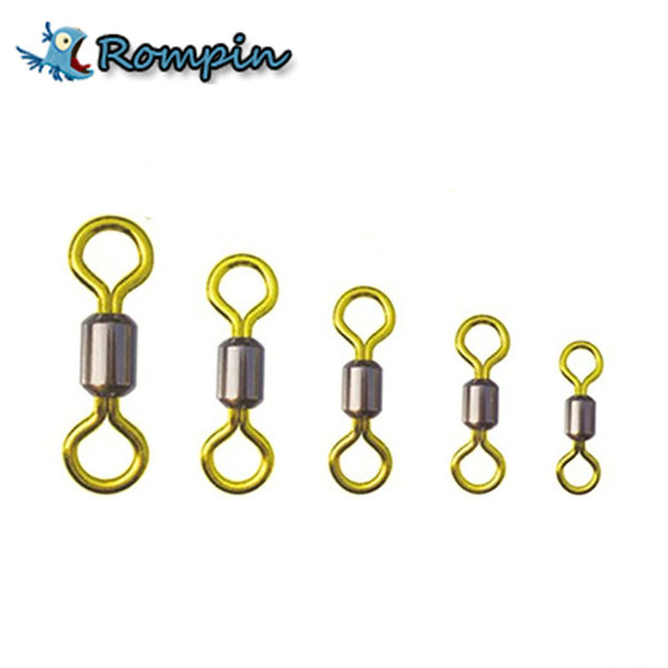 Rompin Top quality 50pcs/lot double color fishing rolling swivel brass Fishing tackle accessories size 2# 4# 6# 8# 10# 12#