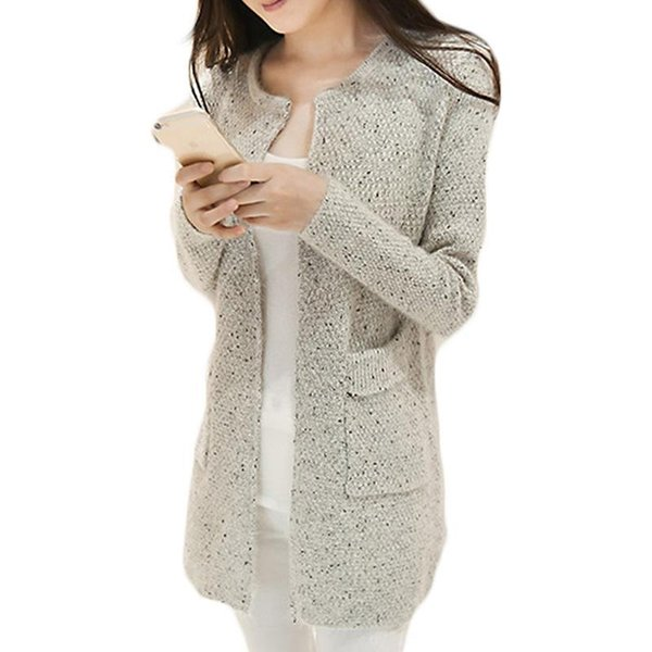 Wholesale- Winter Women Casual Long Sleeve Knitted Cardigans Autumn Crochet Ladies Sweaters Fashion Tricotado Cardigan Top Quality