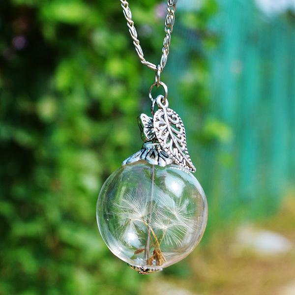 Hot Handmade Ball Glass Bottle Dandelion Filled Wishing Bottle Pendant Butterfly Leaf Charm Necklace Bottle Hansenne Fit Metal Chain