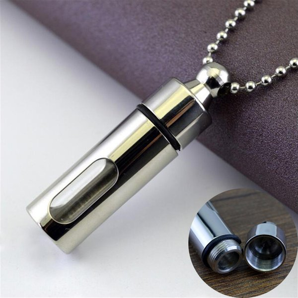 Men Necklaces Stainless Steel Glass Cylinder Aromatherapy Essential