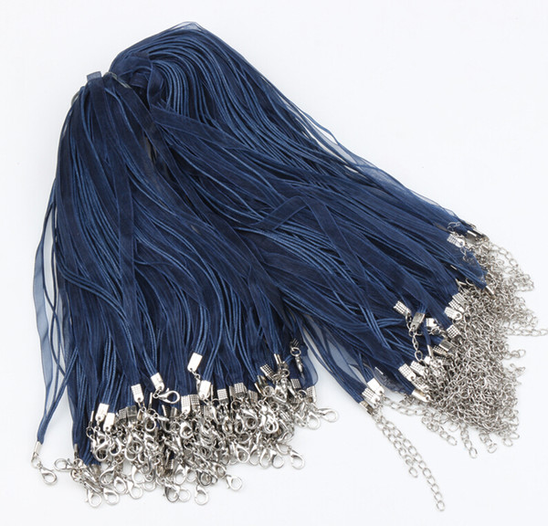 "100pcs/lot New Navy Organza Voile Ribbon Cord Necklaces 18"" Wire Jewelry DIY Jewelry Findings Components"