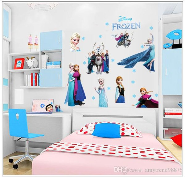 Amazing Kids Wall Stickers Frozen Wall Stickers Home Decor Classic DIY Queen Elsa  3D Cartoon Wall Painting