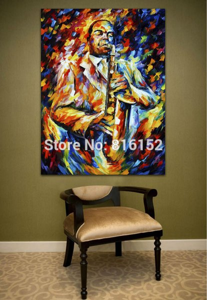 Palette Knife Painting Jazz Music Wonerful Play Soul Musician Funny Clown Picture Printed On Canvas For Home Office Wall Decor