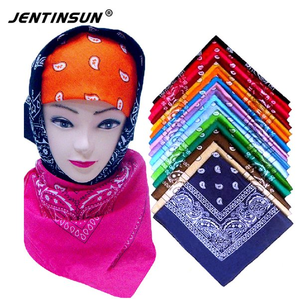 Wholesale- 2017 New Fashion Small Square Neck Warmer Scarf Cotton 55cm*55cm Black Red Paisley Printing Bandanas For Women/Men/Boys/Girls
