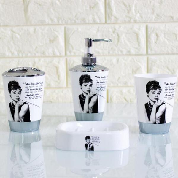 Plástico Conjunto de Acessórios Do Banheiro 4 Pcs Set Banho Set Inlcude Toothbrush Titular Set Tumbler Saboneteira Saboneteira