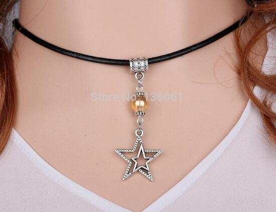 Vintage Silver Duck Wings Cross heart OWL FLOWER Starfish Axe Toadstool Pentacle Leather Necklace Pendant Women Jewelry HOT H100