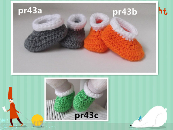 Fashion Colorful Cuff Crochet baby shoes 4 Colors Cuff Baby Boy Girl Warm &Soft for Baby 0-12months first walker shoes