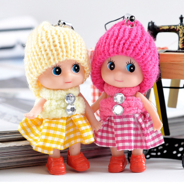 2017 New interactive dolls Soft Interactive Baby Dolls Toy For Girls Mini Doll Keychain Key Ring Key Holder Mobile Phone Straps
