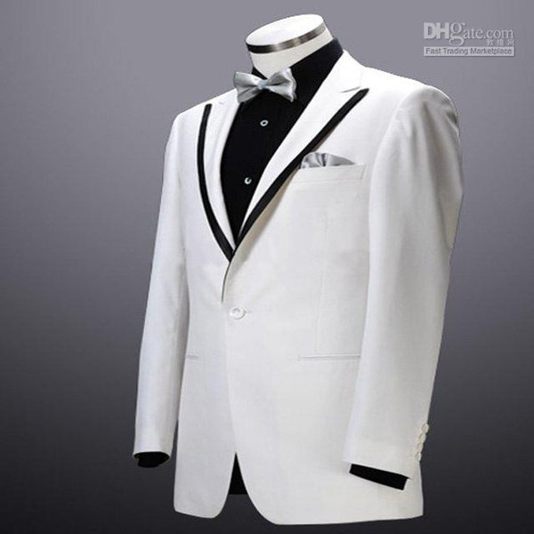 Slim Fit Groom Tuxedos White One Button Peak Lapel Best Man Groomsman Men Wedding Suits Prom/Form/Bridegroom (Jacket+Pants+Tie+Girdle)