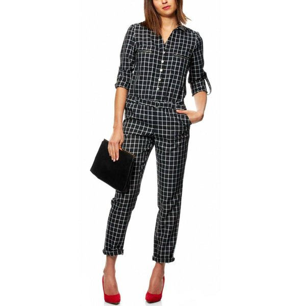 f7eb67feae8e New black Plaid Fashion High Street formal Jumpsuit 2015 New Spring Summer  Autumn Fashion Women full