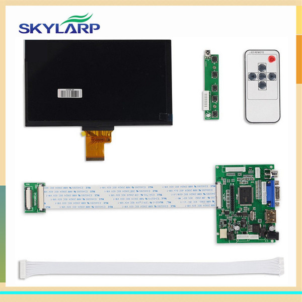 Wholesale- skylarpu 1024*600 IPS Screen Display LCD TFT Monitor EJ070NA-01J with Remote Driver Control Board 2AV HDMI VGA for Raspberry Pi