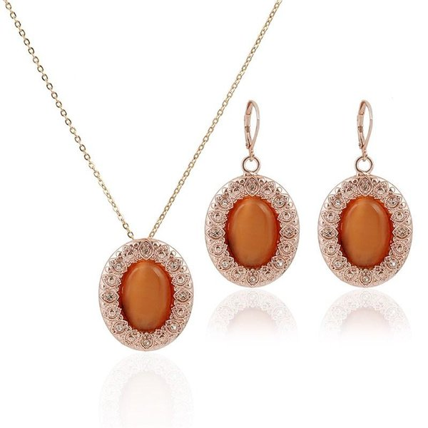 New Year Fashion Rose Gold Plated Opal Jewelry Sets Necklace and Earrings Woman Crystal Jewelry For Women Party Jewelry