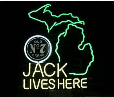 """Jack Lives Here Map Neon Sign Beer Bar KTV Club Pub Motel Advertising Display Neon Signs Handcrafted Custom Real Glass Tube 20""""X24"""""""