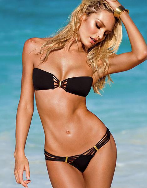 Summer Beach Sexy Lady Bandage Swimsuit Metal Ring Multi Rope Women Bikini Black White Triangular Swimwear S-L