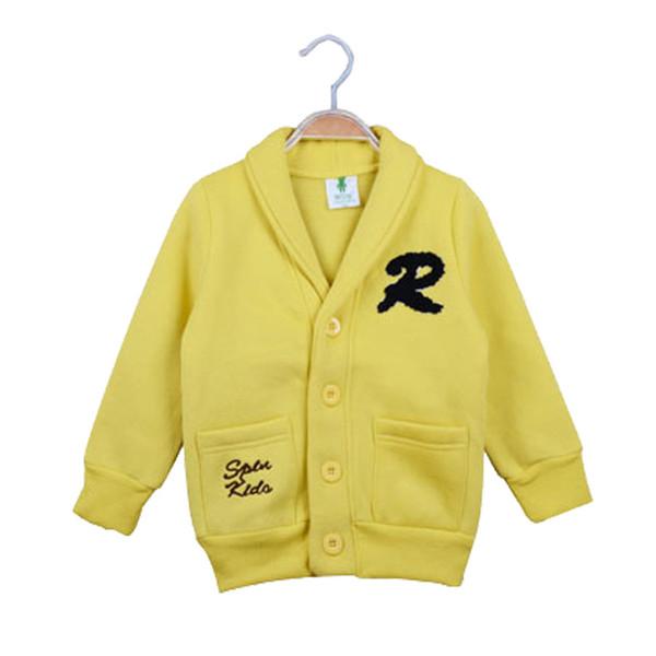 Alta qualidade 2017 Crianças T-shirt Camisolas Roupas Meninos Meninas Carta Mangas Compridas Com Capuz Camisola Crianças Amarelo Preto 2 Cores