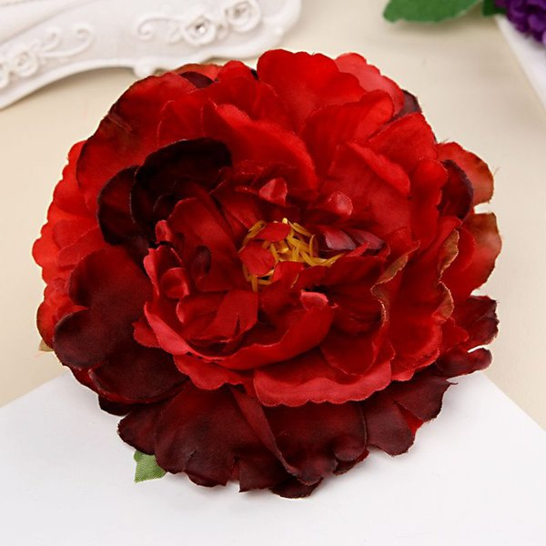 top popular Fashion Peony Flower Hairpin Bohemian Holiday Gradient Multilayer Flower Headwear with Clip Brooch Corsage Hair Head Clip Headdress 2019