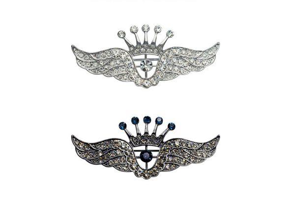 Fashion Trendy Hot Unisex Jewelry Rhinestones Silver Crown Wing Brooch Pin Women Men Wedding Jewelry Wholesale 12Pcs