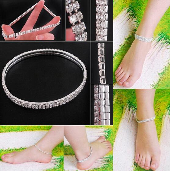Kristall Strass STRETCH CZ Tennis Knöchelkette ANKLET Armband SEXY Frauen Sommer Strand Sand Schmuck 1-4 Reihen 2 Farben
