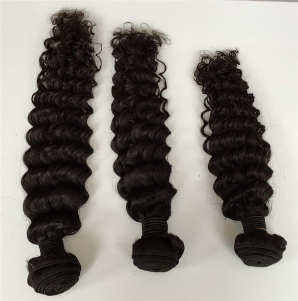 Interlovehair Hair Wefts Deep Wave Human Hair Extensions Can Be Straightened Cheap Hair Weave in Natural Color