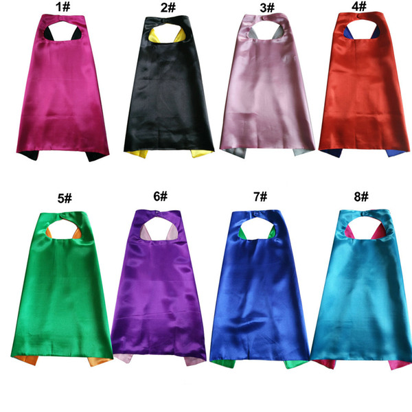 best selling Plain Color 70*70cm 2layer kids superhero cosplay costume satin cape Halloween Cosplay Superhero Capes for kids