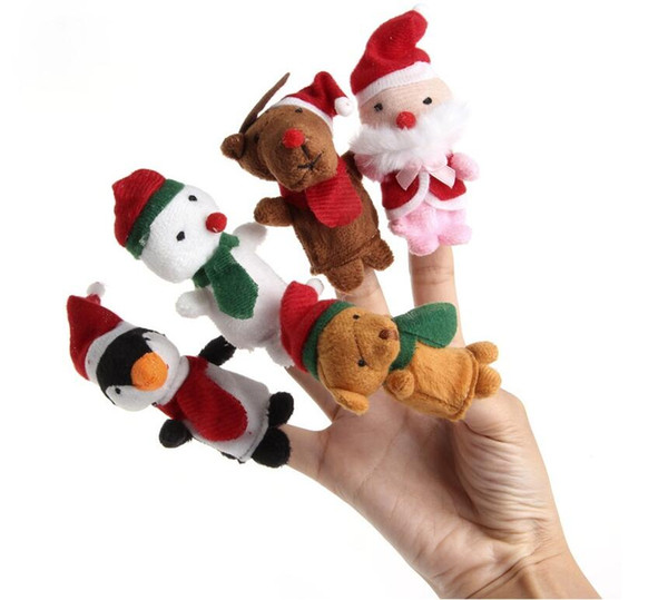 top popular 5pcs Christmas Hand Finger Puppets Cloth Doll Santa Claus Snowman Animal Toy Baby Educational Finger Puppets 2021