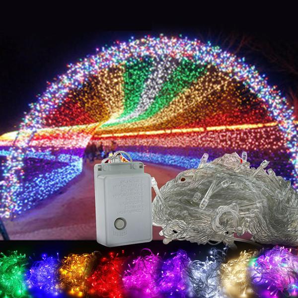 DHL llevó luz LED Navidad loca venta 10M 100 LED cadena Decoración Luz 110V 220V Para Fiesta Boda led navidad centelleo iluminación