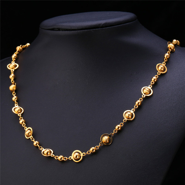 Women's Gold Bead Chain Platinum/18K Gold Plated 2015 New Fashion Women Jewelry Fancy Ball Chain Necklace