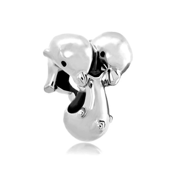 Personalized woman jewelry 3 dolphin European sealife bead metal charms bracelet with big hole Pandora Chamilia Compatible