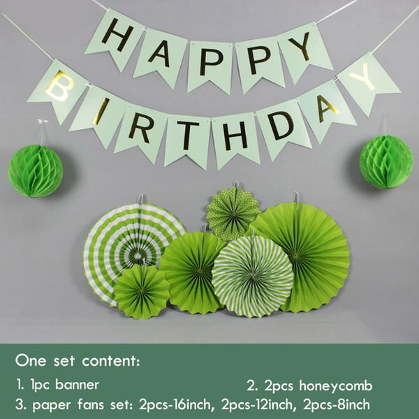 9pcs / Set vert / violet / bleu clair Set fans de papier suspendus pour la décoration de fête bannière joyeux anniversaire pour enfants événement Baby Shower