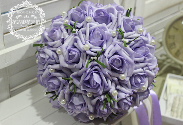 Hot Sale! Wholesale Purple Artificial Wedding Bouquet Roses Pink Women Bridal Accessories Flowers Gown 2016 Free Shipping Wedding Accessory