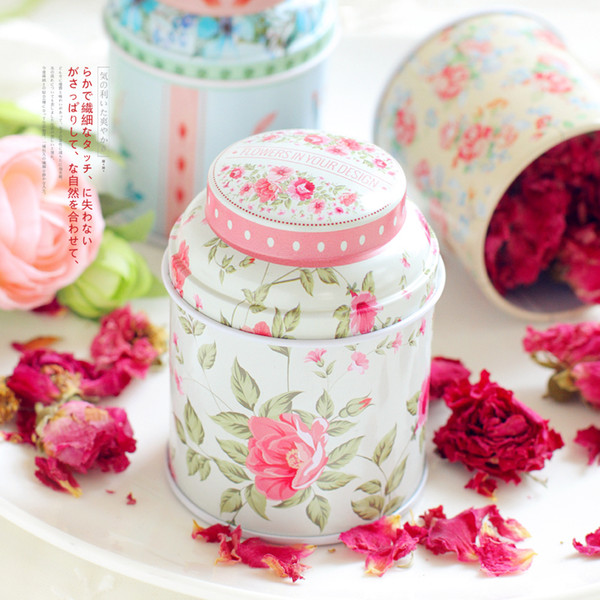 Metal European Portable Flower Tea Tins Storage tin boxes for party gifts package 100pcs lot wholesales