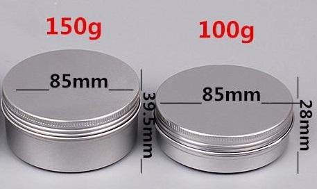 best selling 10 15 30 60 100 150 250ml Empty Aluminium Cosmetic Containers Pot Lip Balm Jar Tin For Cream Ointment Hand Cream Packaging Container Box