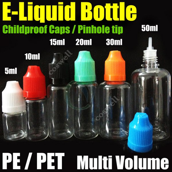 DHL Free e Liquid Empty Needle Bottles PE Capsule in PET pinhole tip multi volume Plastic Needle Dropper per sigaretta elettronica serie EGo