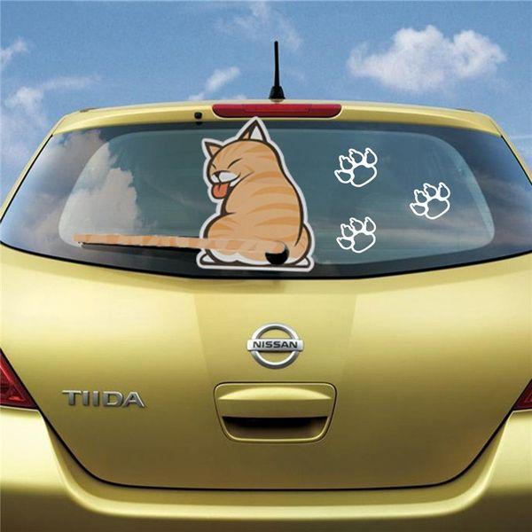 2015 1PC Vivid Yellow Cat Sticker con una cola que menea para la ventana trasera del coche y el limpiaparabrisas orden $ 18no rastro