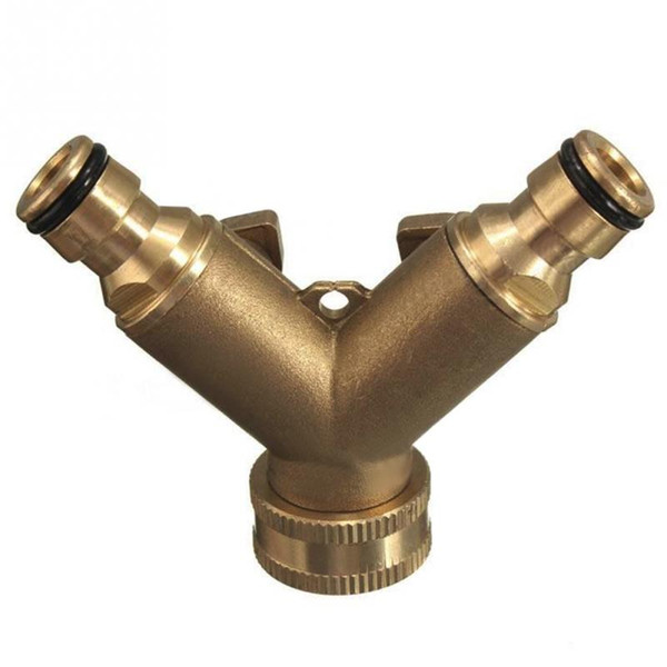 Good Quality 3/4 Inch 2 Way Splitter Brass Water Hose Tap Quick Connector with Valve Gardening Irrigation Tool