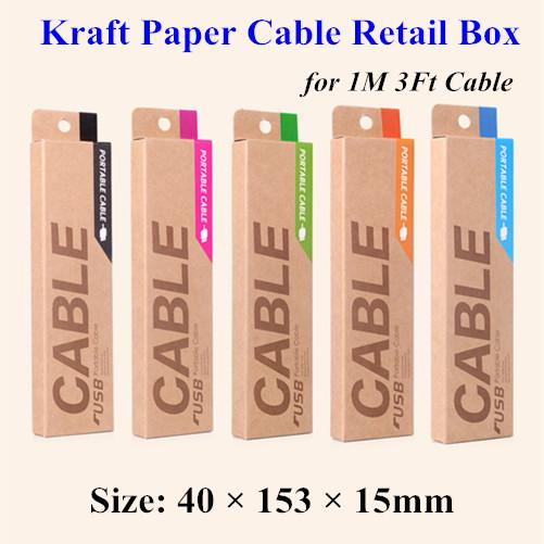 153*40*15mm Kraft Craft Paper Retail Packaging Bag Package Box For Samsung Galaxy S4 Note 3 iPhone 4 5 S 6 1M USB Charging Cable 1000pcs DHL