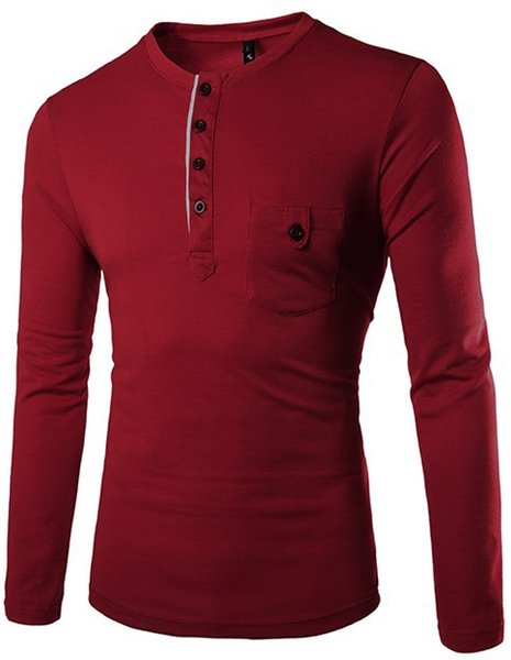 New Fashion Men Tee Long Sleeve Henley Shirts Military Casual T-shirt Top men Clothes cotton blend t Shirt free DHL