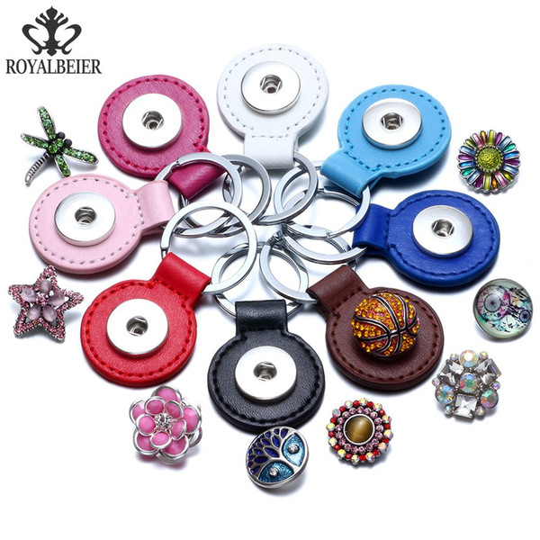 Newest PU Leather Round Snap Key Chains Fit 18MM Snaps Jewelry Keyring Keychain For Unisex Key Ring